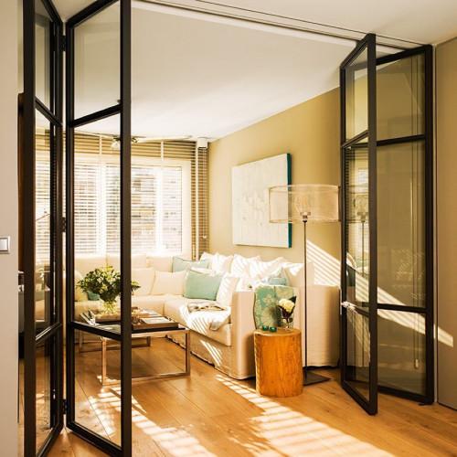 Межкомнатные стеклянные раздвижные перегородки лофт, книжка и гармошка, loft style