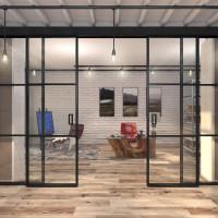 Лофт перегородки для кабинета с раздвижными дверями