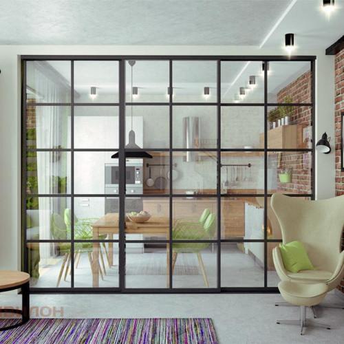 Металлическая раздвижная перегородка для дизайна квартиры