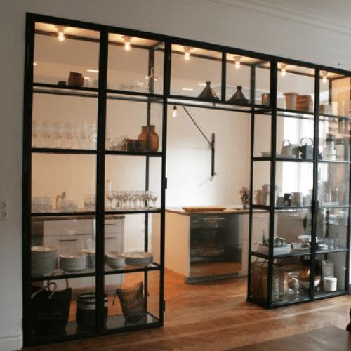 Межкомнатные статичные лофт перегородки, перегородки из металла и стекла loft style